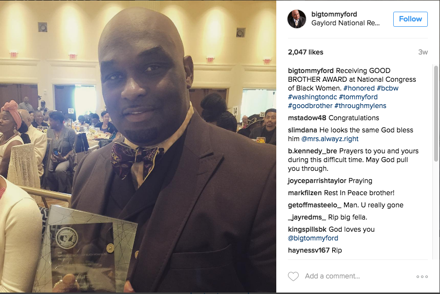 Tommy Ford awarded the Good Brother Award from the National Congress of Black Women
