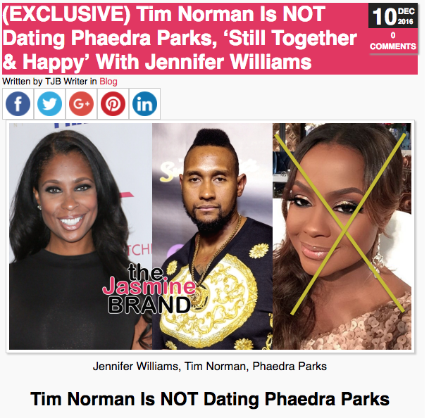 Phaedra Parks not dating Tim Norman from Welcome to Sweetie Pie's
