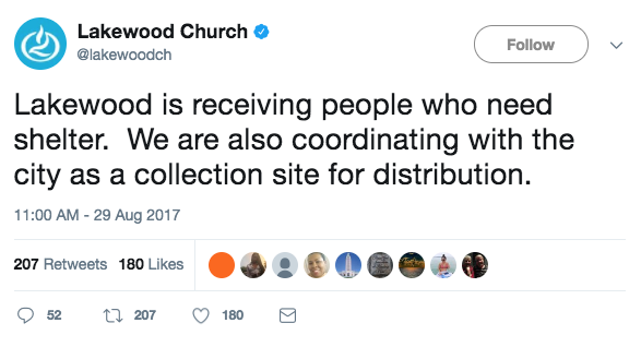 joel osteen lakewood church hurricane harvey houston
