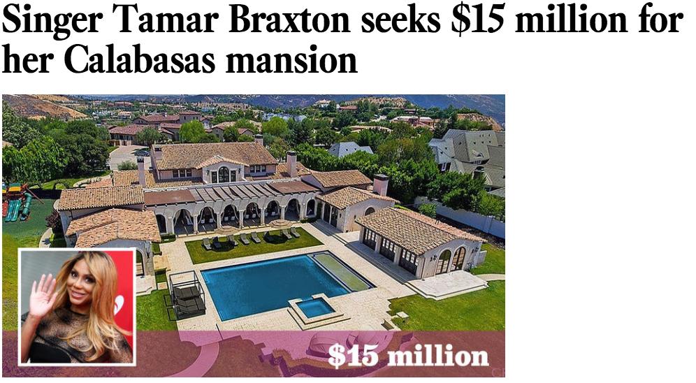 Tamar Braxton Vincent Herbert Sell Home 15 million mansion