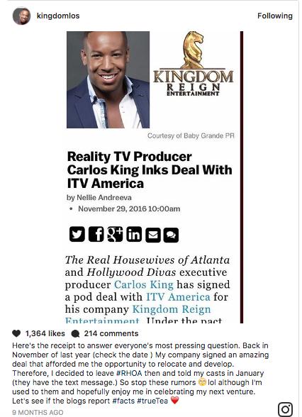 Carlos King deny RHOA fired on Instagram